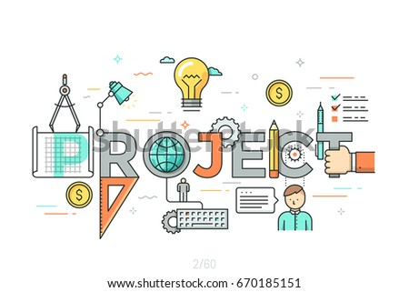 Thin line design concept for project website banner. Vector illustration concept for creative or technical process, preview of the finished projects, information about services, product development.