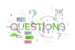 Thin line design concept for questions website banner. Vector illustration for frequently asked questions and answers, client or customer support, product and service information.