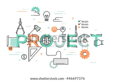 Thin line design concept for website banner. Vector illustration for creative or technical process, preview of the finished projects, information about services, product development.