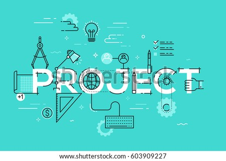 Thin line design template for website banner. Vector illustration concept for creative or technical process, preview of the finished projects, information about services, product development.