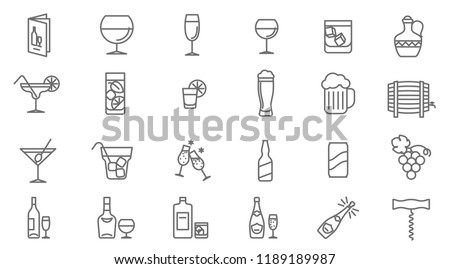 thin line drinks vector icon set