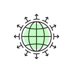 thin line earth globe like world expansion icon. flat linear trend modern logotype graphic stroke art design web element isolated on white background. concept of abstract global business distribution