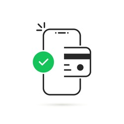 thin line easy contactless payment icon. concept of global marketing or e-commerce checkmark sign and paypass method without contact. flat trend modern outline logo graphic design isolated on white