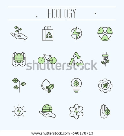 Thin line ecology icons set. Icons for environmental, recycling, renewable energy, nature.