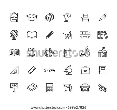 thin line education icons set black on white background