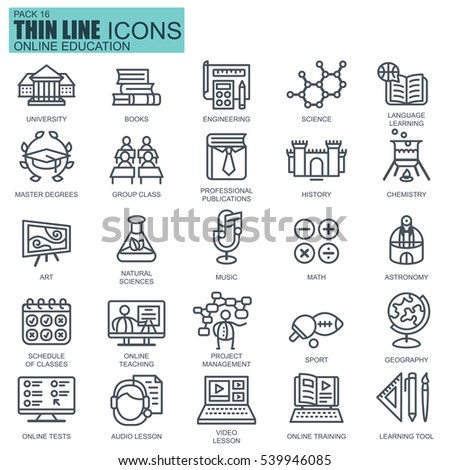Thin line education, online training and courses icons set for website and mobile site and apps. Pixel Perfect. Editable Stroke. Simple linear pictogram pack. Vector illustration.