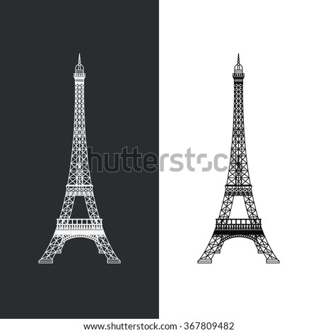 thin line eiffel tower vector