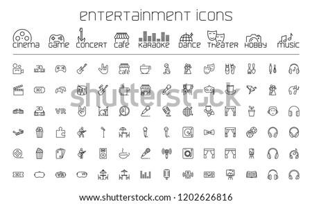 thin line entertainment icons set on white background Stockfoto ©