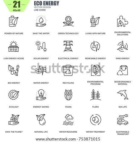 Thin line environment, renewable energy technology icons set for website and mobile site apps. Contains such Icons as Eco, Green Technology. 48x48 Pixel Perfect. Editable Stroke. Vector illustration.