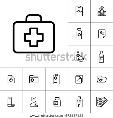 thin line first aid icon, medicines set on white background