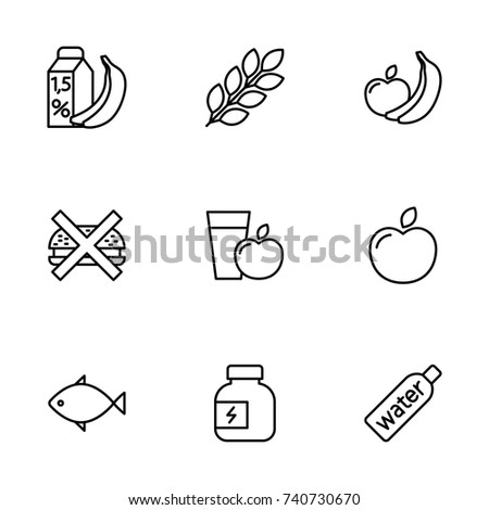 thin line fitness nutrition, low-calorie food icons set on white background