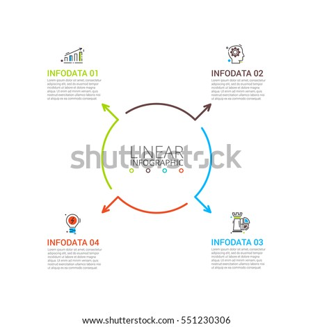 Thin line flat arrows for infographic. Template for diagram, graph, presentation and chart. Business concept with 4 options, parts, steps or processes. Stroke icons.
