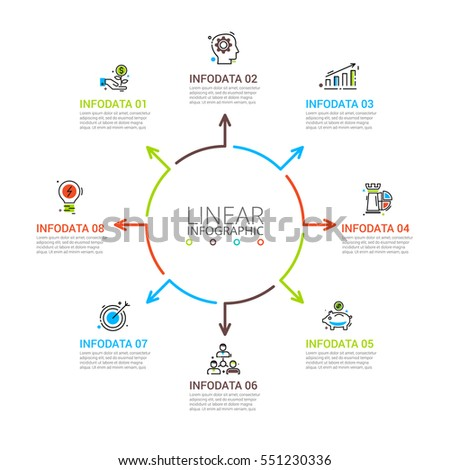 Thin line flat arrows for infographic. Template for diagram, graph, presentation and chart. Business concept with 8 options, parts, steps or processes. Stroke icons.