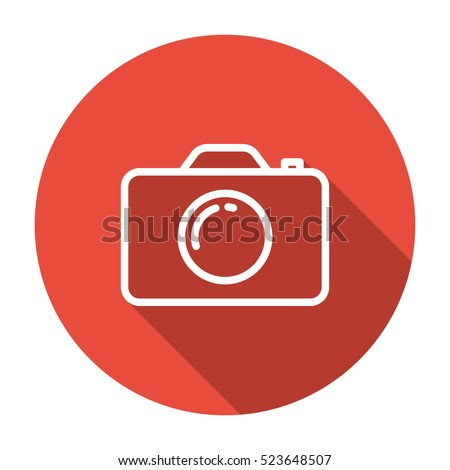 thin line, flat camera icon on white background