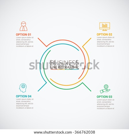 Thin line flat circle for infographic. Template for cycle diagram, graph, presentation and round chart. Business concept with 4 options, parts, steps or processes. Data visualization.