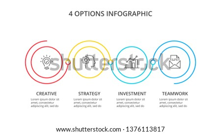 Thin line flat circles for infographic. Template for diagram, graph or presentation. Business concept with 4 options, parts, steps or processes.