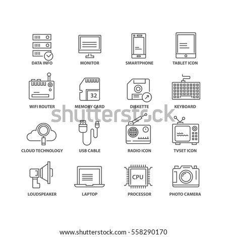 thin line flat conceptual icons