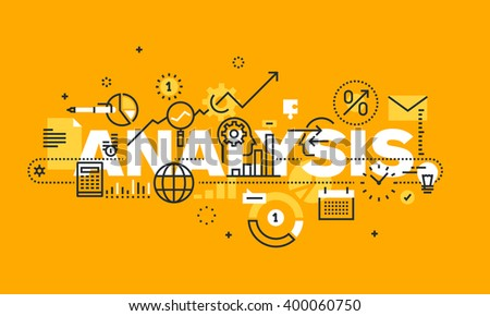 Thin line flat design banner for ANALYSIS web page, financial analysis, accounting, products and services development, business control. Vector illustration concept of word ANALYSIS for web banners.