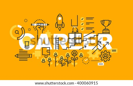 Thin line flat design banner for CAREER web page, employment, career development, job search tool and services. Modern vector illustration concept of word CAREER for website and mobile website banners