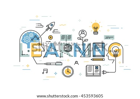 Thin line flat design banner for learning web page, exchange and development of ideas and knowledge. Modern vector illustration concept of word learning for website and mobile applications template