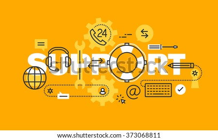 Thin line flat design banner for support web page, online help, technical support, client or customer assistance, call center. Vector illustration concept for website and mobile website banners.