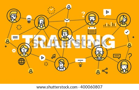 Thin line flat design banner for TRAINING web page, online education, courses, networking, video tutorials, staff training. Vector illustration concept of word TRAINING for website banners.