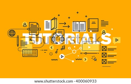 Thin line flat design banner for TUTORIALS web page, online platform with tutorials to acquire knowledge from different fields. Vector illustration concept of word TUTORIALS for website banners.
