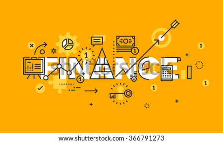 Thin line flat design banner of business, finance and banking.  Modern vector illustration concept of word finance for website and mobile website banners, easy to edit, customize and resize.