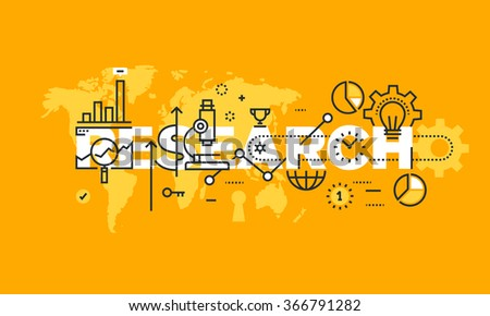 Thin line flat design banner of business, marketing, science, medical and technology research.  Vector illustration concept of word research for website and mobile website banners, easy editable.