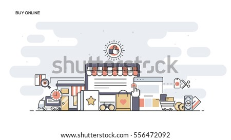 Thin line flat design banner of Buy Online for website and mobile website, easy to use and highly customizable. Modern vector illustration concept, isolated on white background.