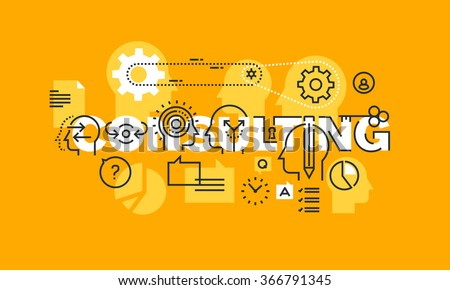Thin line flat design banner of management, security, education, law, human resources, marketing, finance, engineering, science, strategy consulting solutions.  Modern vector illustration concept.