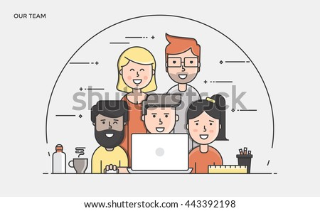Thin line flat design banner of Our Team for website and mobile website, easy to use and highly customizable. Modern vector illustration concept, isolated on white background.
