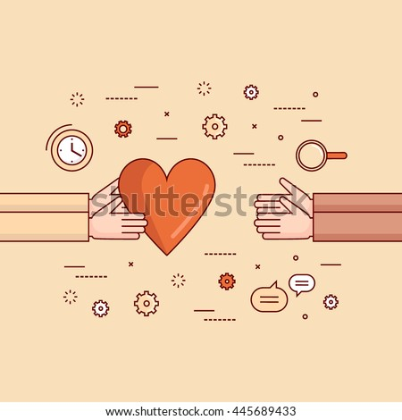 Thin line flat design colorful vector illustration concept for charity, donating, non-profit organization, help, care, support, work of volunteers isolated on stylish background