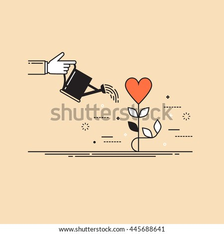 Thin line flat design colorful vector illustration concept for charity, help, supporting, work of volunteers isolated on stylish background