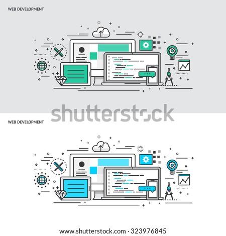 Thin line flat design concept banners for Web Development. Modern vector illustration