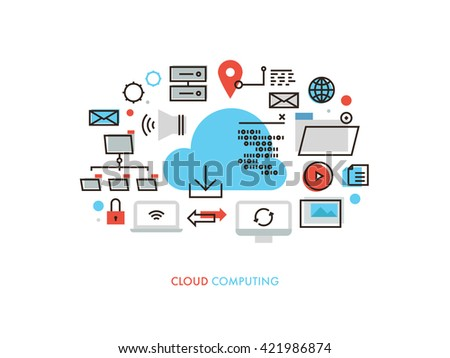 Thin line flat design of cloud computing datum architecture, internet network security connection for worldwide business multimedia. Modern vector illustration concept, isolated on white background.