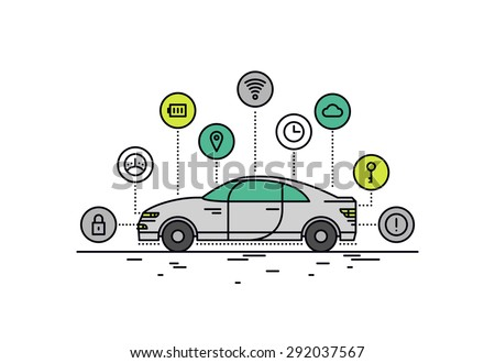 Thin line flat design of driverless car technology features, autonomous vehicle system capability, internet of things road transport. Modern vector illustration concept, isolated on white background. #292037567