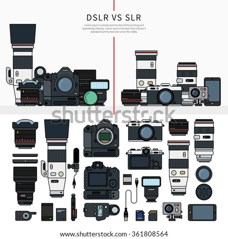Thin line flat design of DSLR and SLR cameras. Digital single-lens reflex and single-lens reflex camera sets, parts of these cameras in order, lengs, cables, memory cards isolated on white background