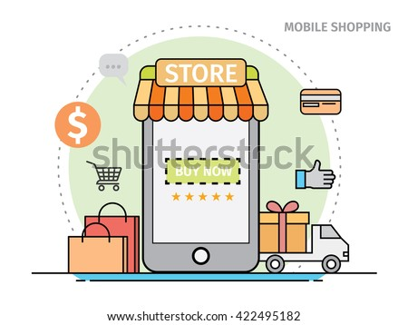 Thin line flat design of mobile shopping