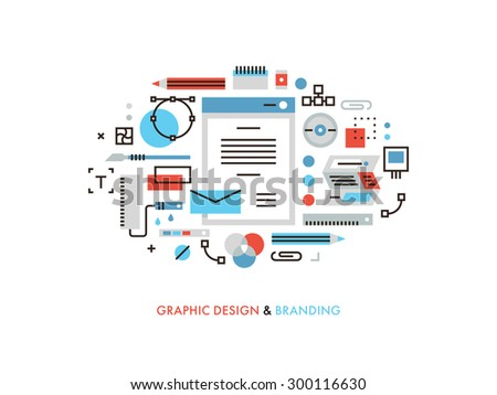 Thin Line Flat Design Of Useful Designer Graphic Tools Corporate Colors For Brandbook Designing