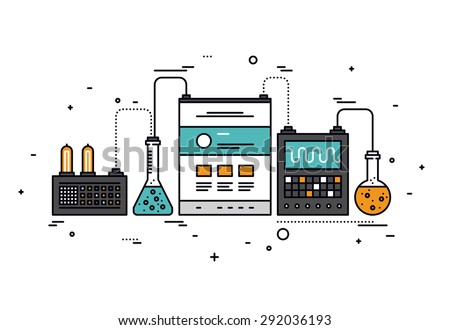 Thin line flat design of website content research, smart technology for SEO analytics, web page information analysis, technical tools. Modern vector illustration concept, isolated on white background.