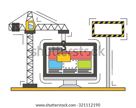 Thin line flat design of website under construction, web page building process. Modern vector illustration concept.