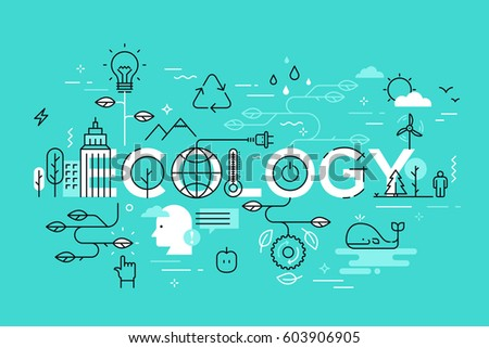 Thin line flat design template for ecology and environment web page. Modern vector illustration concept of word ecology for website and mobile application banners.
