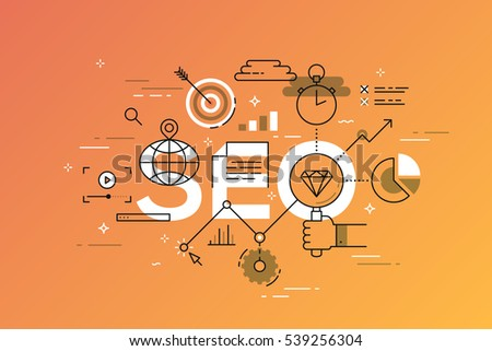 Thin line flat design template of search engine optimization. Modern vector illustration concept of word SEO for mobile website banners, easy to edit, customize and resize.