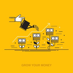 Thin line flat design vector illustration of a hand watering money plants, concept for making money, investment, getting profit, financial management, business growth isolated on bright background