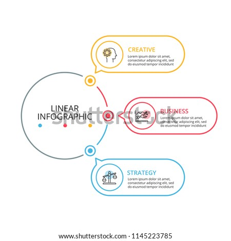 Thin line flat element for infographic. Template for diagram, graph, presentation and chart. Business concept with 3 options, parts, steps or processes. Data visualization.