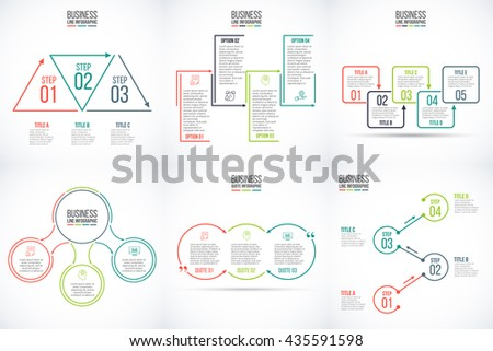 Thin line flat elements for infographic. Template for diagram, graph, presentation and chart. Business concept with 3, 4 and 5 options, parts, steps or processes. Data visualization.