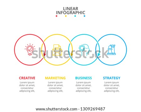 Thin line flat elements for infographic with 4 steps, options, parts or processes. Can be used for presentations banner, workflow layout, process diagram, info graph or flow chart.