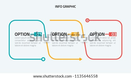 Thin line flat infographic design elements and number options.Timeline with 3 options, steps or process.Vector business template for presentation.