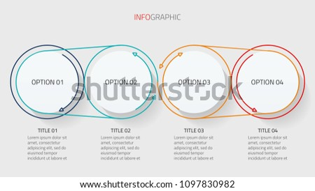 Thin line flat infographics design vector with modern circle shapes. Business processes chart with 4 options, steps. can be used for workflow diagram, annual report or presentation.